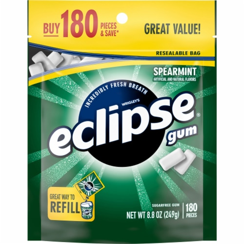 Eclipse Spearmint Sugar Free Chewing Gum Perspective: front
