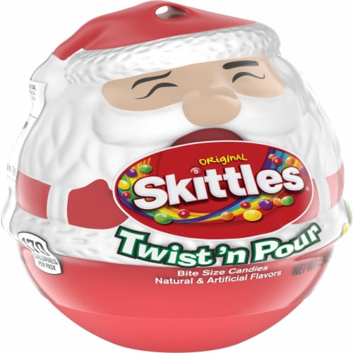 Skittles Original Twist 'n Pour Santa Christmas Candy Stocking Stuffers Perspective: front