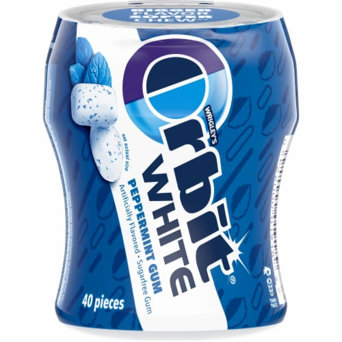 ORBIT WHITE Peppermint Sugar Free Chewing Gum 40 Count Perspective: front