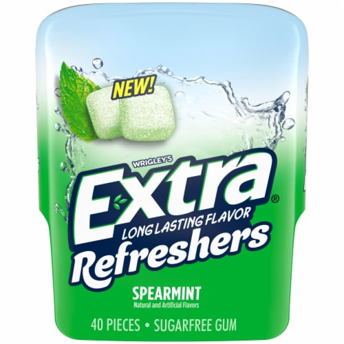 EXTRA Refreshers Spearmint Sugar Free Chewing Gum 40 Count Perspective: front