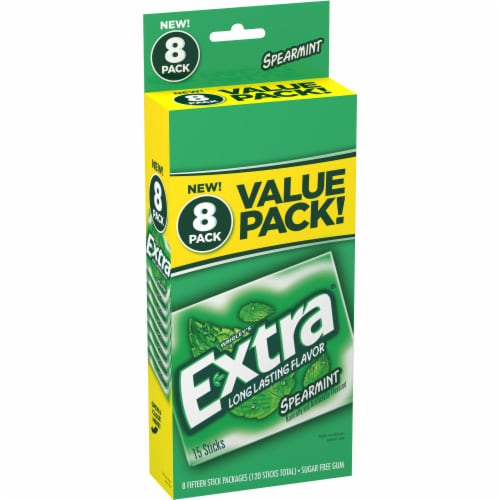EXTRA Spearmint Sugar Free Chewing Gum Bulk Gum 8 Pack Perspective: front