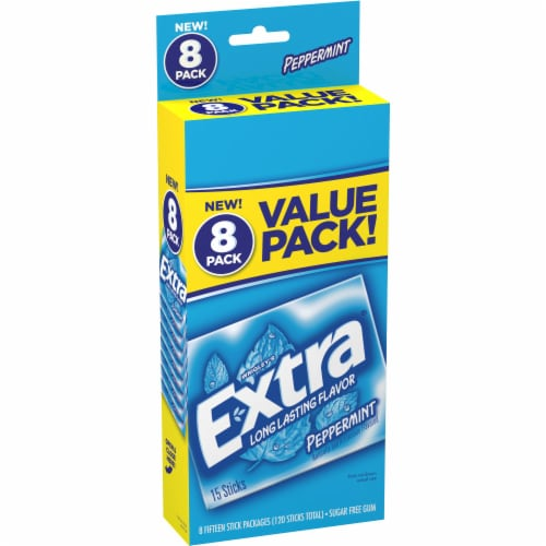 EXTRA Peppermint Sugar Free Chewing Gum Bulk Gum 8 Pack Perspective: front