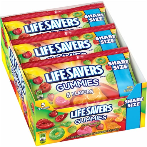 Life Savers 5 Flavors Gummies Candy Share Size Packs Perspective: front