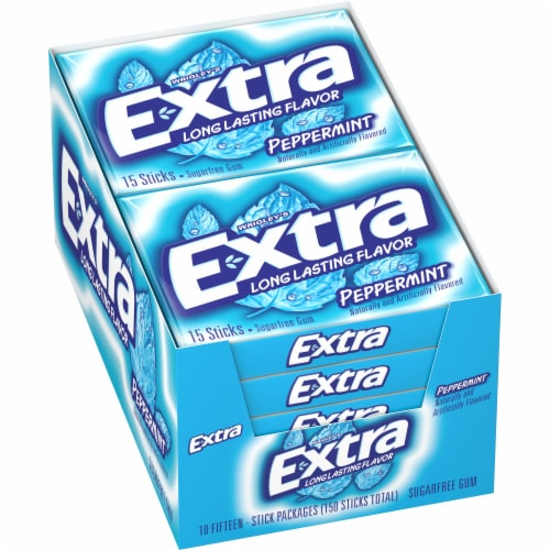 Wrigley's Extra Peppermint Sugarfree Gum Perspective: front