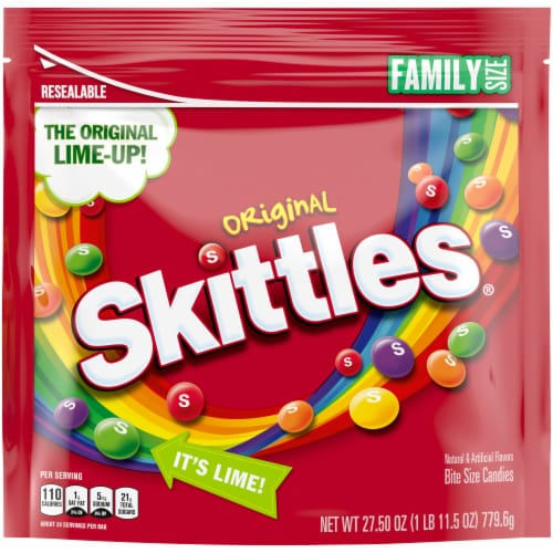 SKITTLES Original Chewy Candy Family Size Stand Up Pouch Perspective: front