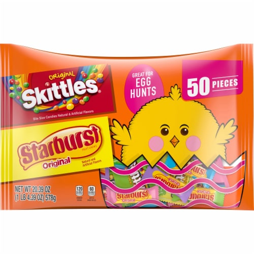 SKITTLES and STARBURST Original Chewy Easter Candy Bag, 50 Fun Size Pieces Perspective: front