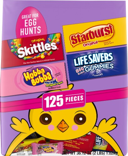 SKITTLES, STARBURST, LIFE SAVERS Gummies, & HUBBA BUBBA Assorted Easter Candy Fun Size 125-Piece Bag Perspective: front
