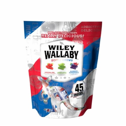 Kenny's Candy Wley Wallaby Classic Red, Green Apple, Blueberry Pomegranate Licorice 15 oz. Perspective: front