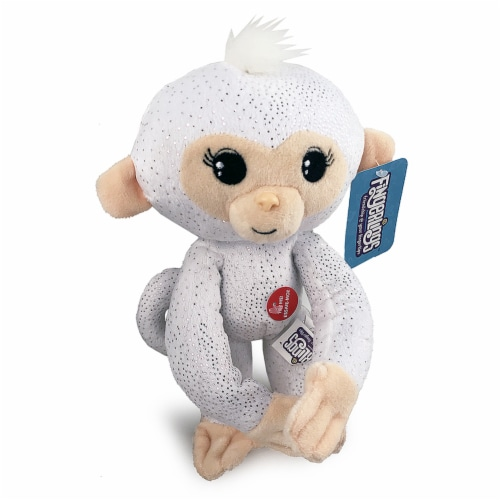 Fingerlings Pose-able Plush Monkey with Sound - Sparkle White Perspective: front