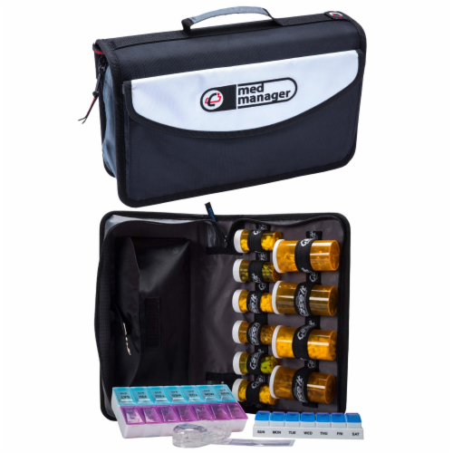 Med Manager Mini Medicine Organizer and Pill Case, Holds (10) Pill Bottles, Black Perspective: front