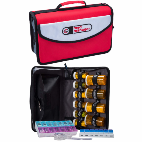 Med Manager Mini Medicine Organizer and Pill Case, Holds (10) Pill Bottles, Red Perspective: front