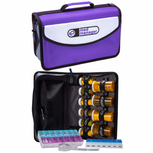 Med Manager Mini Medicine Organizer and Pill Case, Holds (10) Pill Bottles, Purple Perspective: front