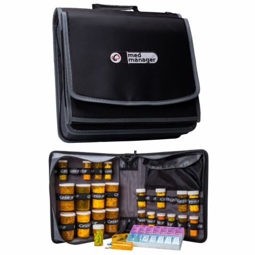 Med Manager XL Medicine Organizer and Pill Case, Holds (25) Pill Bottles, Black Perspective: front