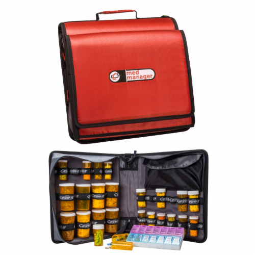 Med Manager XL Medicine Organizer and Pill Case, Holds (25) Pill Bottles, Red Perspective: front