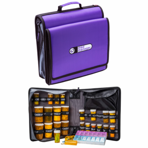 Med Manager XL Medicine Organizer and Pill Case, Holds (25) Pill Bottles, Purple Perspective: front
