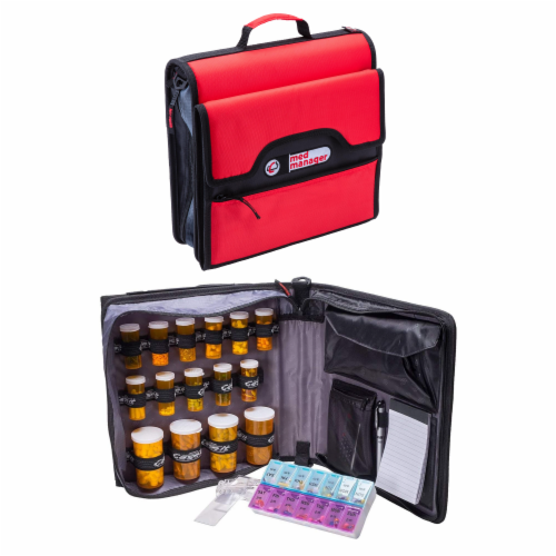 Med Manager Deluxe Medicine Organizer and Pill Case, Holds (15) Pill bottles, Red Perspective: front