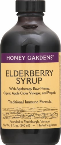 Honey Gardens Traditional Immune Formula Elderberry Syrup Perspective: front