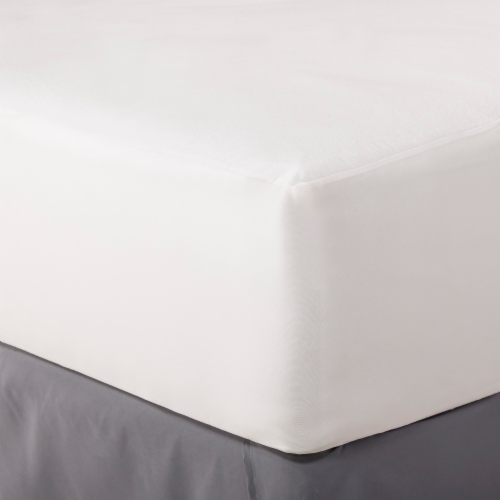 Rest Right Temperature Balancing Mattress Protector - White Perspective: front