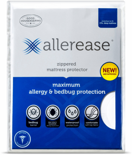 AllerEase Maximum Allergy and Bedbug Zippered Mattress Protector - White Perspective: front