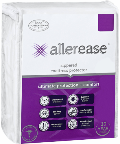 AllerEase Ultimate Protection and Comfort Zippered Mattress Protector - White Perspective: front