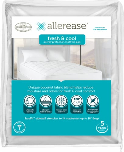 AllerEase Fresh and Cool Allergy Protection Mattress Pad - White Perspective: front