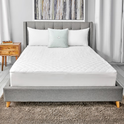 Sealy 300 Thread Count White Mattress Pad Perspective: front