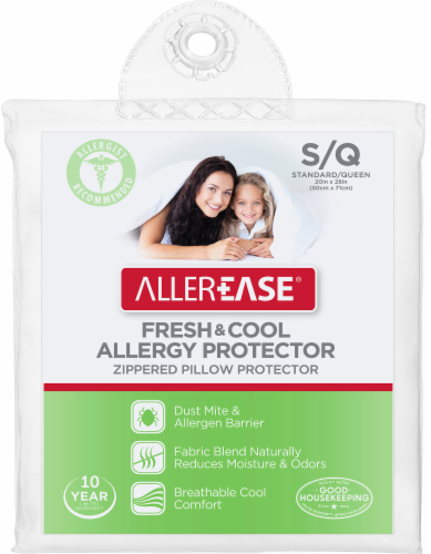 AllerEase Fresh and Cool Zippered Pillow Protector - White Perspective: front