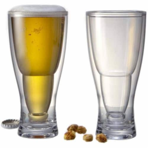 Prodyne BG2 HOPSY-TURVY Upside Down Beer Glass, Pack of 2 Perspective: front