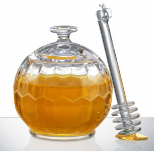 Prodyne Honey Please Acrylic Honey Jar with Dripper Perspective: front