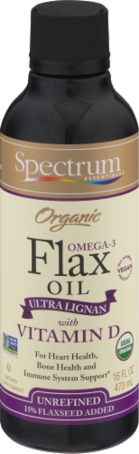 Spectrum Essentials Organic Flax Oil with Vitamin D Perspective: front