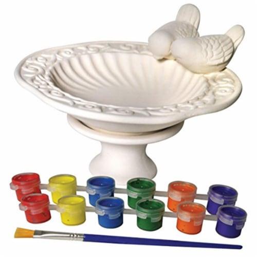 Sassafras 22244BB Paint Your Own Ceramic Bird Bath Paint Perspective: front