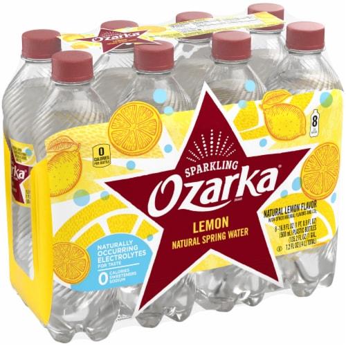 Ozarka Lively Lemon Sparkling Spring Water 8 Bottles Perspective: front