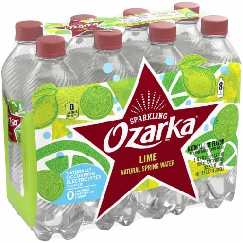Ozarka Zesty Lime Sparkling Spring Water 8 Bottles Perspective: front