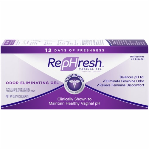 RepHresh Odor Eliminating Vaginal Gel 4 Count Perspective: front