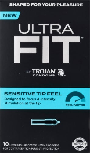 Trojan Ultra Fit Sensitive Tip Feel Lubricated Latex Condoms Perspective: front