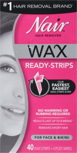 Nair Wax Ready Strips for Face & Bikini Perspective: front