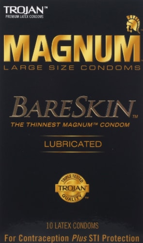 Trojan Magnum Bareskin Lubricated Large Size Condoms Perspective: front