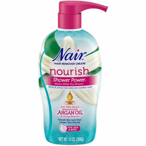 Nair Nourish Shower Power Moroccan Argan Oil Pump Bottle Perspective: front