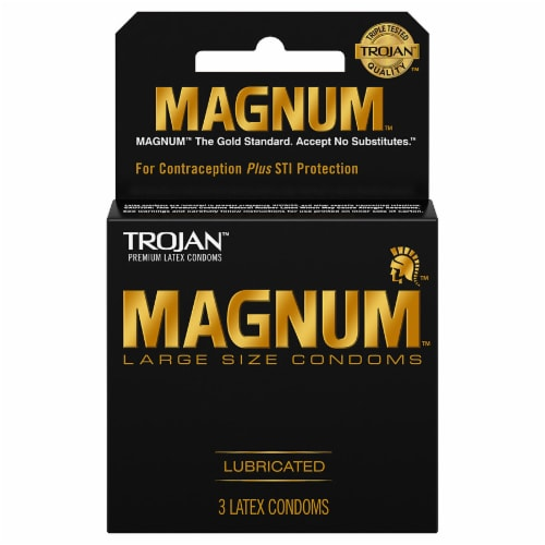 Trojan Magnum Large-Size Lubricated Condoms Perspective: front