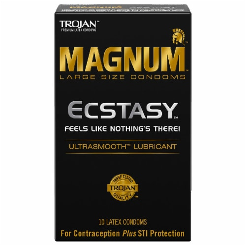 Trojan Magnum Ecstasy Ultra Smooth Lubricated Large Size Latex Condoms 10 Count Perspective: front