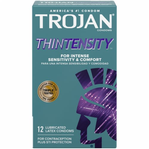 Trojan Thintensity Lubricated Condoms Perspective: front