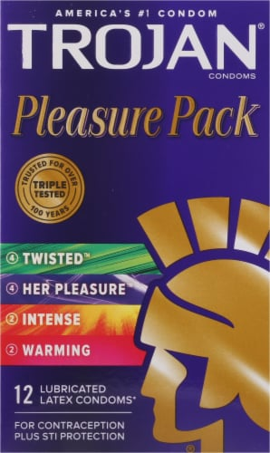 Trojan Pleasure Pack Lubricated Latex Condoms Variety Pack Perspective: front