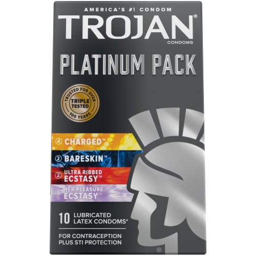 Trojan Platinum Pack Lubricated Latex Condoms Multipack Perspective: front