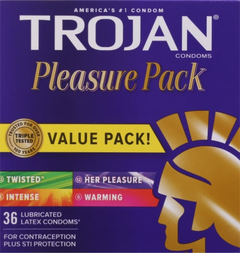 Trojan Pleasure Pack Lubricated Latex Condoms 36 Count Perspective: front