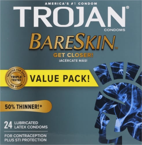 Trojan BareSkin Lubricated Latex Condoms Perspective: front