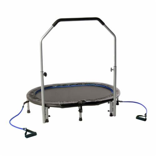 Stamina InTone Oval Fitness Rebounder Trampoline for Cardio w/ Handlebars, White Perspective: front
