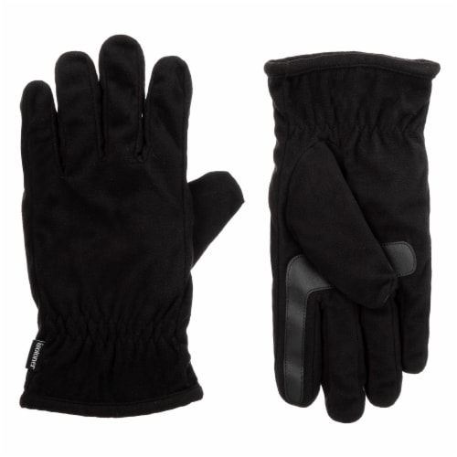 Isotoner­® Men's Large Fleece Gloves - Black Perspective: front