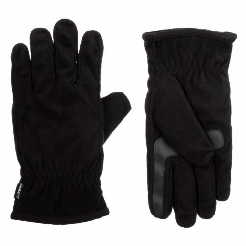 Isotoner® Men's Extra Large Fleece Gloves - Black Perspective: front