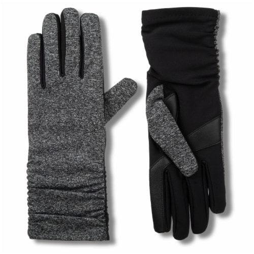 Isotoner­® Women's Snowflake Knit Gloves - Black/Gray Perspective: front