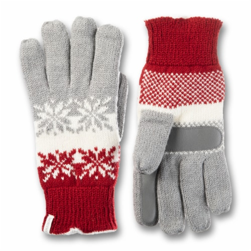 Isotoner­® Women's Snowflake Knit Gloves - Red Perspective: front